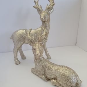 Gold Glitter Standing Deer Collectible Figurines With Antlers Ornaments 2 Pack